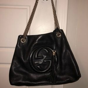 Gucci Soho Medium Double Chain Strap Black Tote